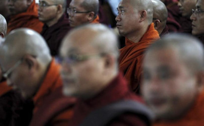 Buddhist monks sit during a news conference by the radical Buddhist group Ma Ba Tha at their head office in Rangoon, October 2, 2015.  (Photo: Soe Zeya Tun / Reuters)