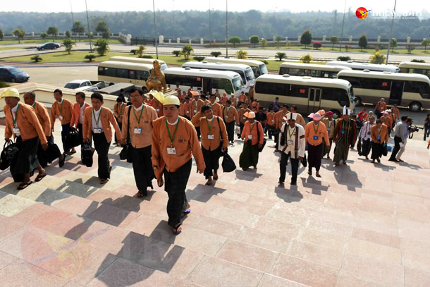 Lawmakers arrive to attend the first session of the Union Parliament on Feb. 8, 2016. (Photo: JPaing / The Irrawaddy)