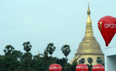 Balloons float above the former Dagon City 1 sales office near Shwedagon Pagoda in Rangoon earlier this year. (Photo: Steve Tickner / The Irrawaddy)