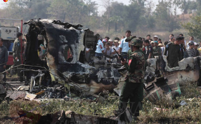 Remnants of a military plane crash near Naypyidaw on February 10, 2016. (Photo: J Paing / The Irrawaddy)