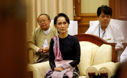 Myanmar's National League for Democracy leader Aung San Suu Kyi sits in meeting room after the opening of the new upper house of parliament in Naypyitaw February 3, 2016. After decades of struggle, hundreds of lawmakers from Aung San Suu Kyi's camp will form Myanmar's ruling party on Monday, with enough seats in parliament to choose the first democratically elected government since the military took power in 1962. REUTERS/Soe Zeya Tun