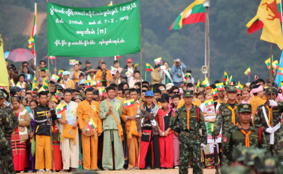 Civilians and soldiers celebrated the 69th Shan National Day at Loi Tai Leng, the SSA-S headquarters, with music, dancing and a Shan army parade on February 7, 2016. (Photo: Nyein Nyein / The Irrawaddy)