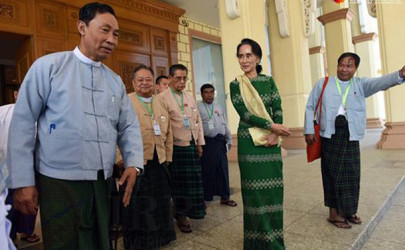 Shwe Mann and Aung San Suu Kyi in Naypyidaw on Feb. 2, 2016. (Photo: JPaing / The Irrawaddy)