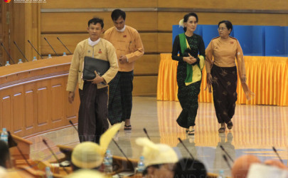 Aung San Suu Kyi arrives for the first session of the Union Parliament on Monday, February 8, 2016. (Photo: JPaing / The Irrawaddy)