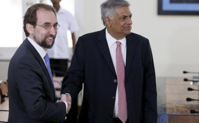 United Nations High Commissioner for Human Rights Zeid Ra'ad Al Hussein (L) shakes hands with Sri Lankan Prime Minister Ranil Wickremesinghe during their meeting in Colombo, February 9, 2016.  (Photo: Dinuka Liyanawatte / Reuters)