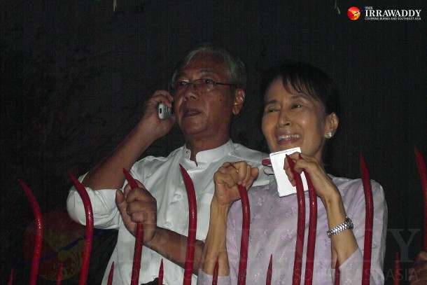 Htin Kyaw, revealed Thursday as the National League for Democracy (NLD) nominee likely to be Burma's next president, is pictured here standing beside party chairwoman Aung San Suu Kyi on Nov. 12, 2011, shortly after she was released from house arrest in Rangoon. (Photo: JPaing / The Irrawaddy)