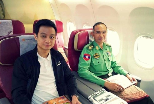 Lt-Gen Sein Win, the country's Defense Minister, with Snr-Gen Than Shwe's grandson Nay Shwe Thway Aung on a passenger plane. (Photo: Nay Shwe Thway Aung / Facebook)