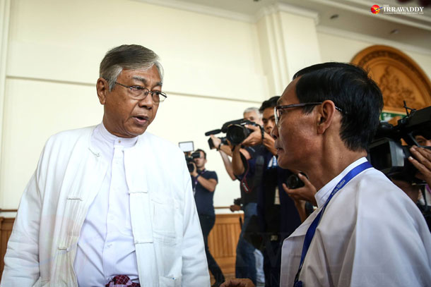 Htin Kyaw (left) at the Parliament as an observer in February. (Photo: The Irrawaddy)