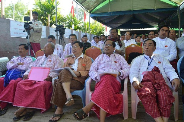 Nai Thet Lwin, far right, at a meeting. (Photo: Mon National Party)