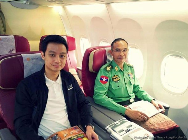 Lt-Gen Sein Win, right, with Nay Shwe Thway Aung, the grandson of former Snr-Gen Than Shwe. (Photo: Nay Shwe Thway Aung)