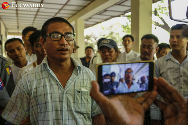 The former monk U Gambira speaks to reporters outside the courthouse in Mandalay Division's Maha Aung Myay Township on Tuesday, when a judge ruled against him in a controversial immigration case. (Photo: Zaw Zaw / The Irrawaddy)