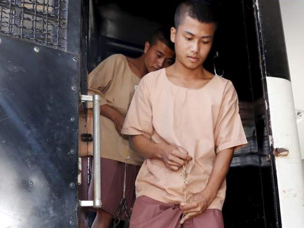 Win Zaw Htun and Zaw Lin, two Burmese migrants workers accused in the murder of two British backpackers in September 2014. (Photo: Reuters)