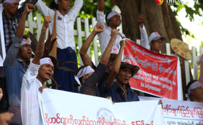 Anti-Rohingya protestors shout slogans outside the US Embassy in Rangoon on Thursday. (Photo: Myo Min Soe / The Irrawaddy)