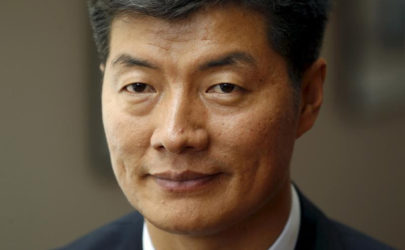 Lobsang Sangay, the new Kalon Tripa, or Tibetan prime minister-in-exile, speaks to reporters at the International Campaign for Tibet building in Washington on April 27, 2011. (Photo: Reuters)