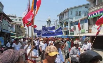 Protesters march in Sittwe, the capital of Arakan State, on Sunday. (Photo: Ko Khaing Mrat)