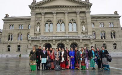 Female leaders from Burma stand in front of the Federal Palace of Switzerland in April 2016. (Photo: Nyein Nyein / The Irrawaddy)