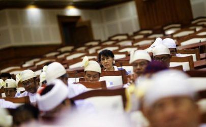 Aung San Suu Kyi attends parliamentary meeting in the Lower House on Aug. 6 2012. (Photo: Soe Zeya Tun / Reuters)