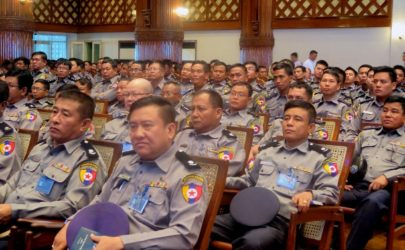 Police attend a session on 'Service-Oriented Policing' in Rangoon on May 21. (Photo: Moe Myint / The Irrawaddy)