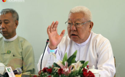 Former USDP central executive committee member Zaw Myint Pe talks to the media on Monday in Naypyidaw. (Photo: Thiha / The Irrawaddy)