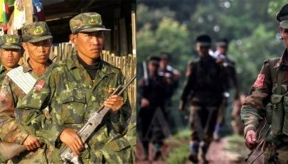 A composite image shows troops from the Restoration Council of Shan State (RCSS), left, and a Ta'ang National Liberation Army (TNLA) soldier. (Photos: The Irrawaddy)