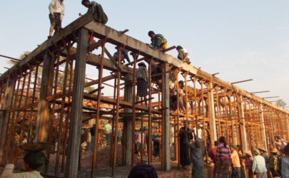 A school building under construction in Mandalay in 2012. (Photo: 100Schools)