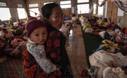 Civilians displaced by conflict shelter in Kyaukme Township, Shan State, last year. (Photo: JPaing / The Irrawaddy)