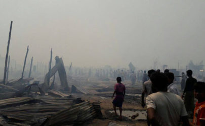 The aftermath of a fire at Baw Du Ba IDP camp that left hundreds, mostly members of the Rohingya minority, homeless. (Photo: Win San Dar Soe / The Irrawaddy)