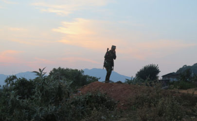 A Ta'ang National Liberation Army (TNLA) soldier in Kyaukme Township, at the frontline of conflict with the Shan State Army-South in February. (Photo: Lawi Weng / The Irrawaddy)