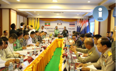 Thai and Burmese military delegations meet in Mae Sai, Thailand, on Monday. (Photo: Network Media Group).