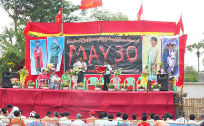 Victims of the Depayin massacre and other activists gather in the village of Kyi, site of the killings in Sagaing Division, on May 30, 2013, to mark the 10-year anniversary of the attack. (Photo: Kyaw Soe)