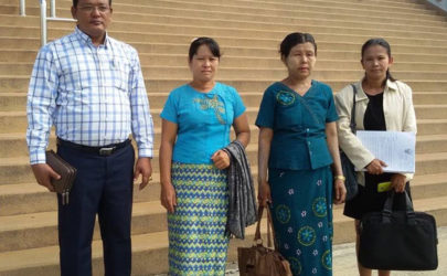 The mothers and supporters of two Burmese migrants convicted of murder in Thailand outside a Koh Samui courthouse after filing an appeal. (Photo: Migrant Worker Rights Network / Facebook)