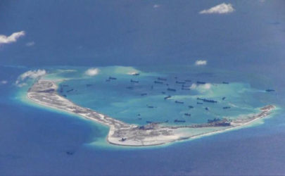 Chinese dredging vessels are purportedly seen in the waters around Mischief Reef in the disputed Spratly Islands in the South China Sea on May 21, 2015. (Photo: Reuters)