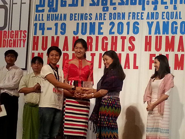 Gender Equality Award presented at the Human Rights Human Dignity International Film Festival in Rangoon. (Photo: Susanna Soe / Facebook)