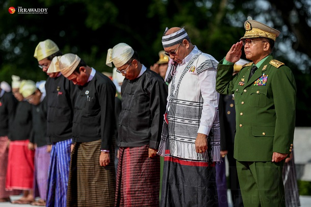 Army chief Snr-Gen Min Aung Hlaing and parliament speakers pay respect to Gen Aung San and his eight colleagues at the Martyrs' Mausoleum in Rangoon. (Photo: Pyay Kyaw / The Irrawaddy)