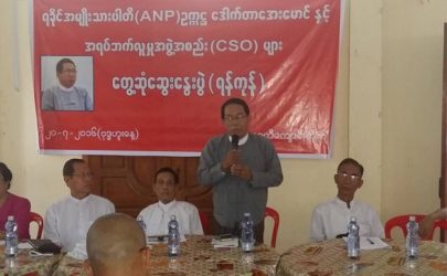 Arakan National Party chairman Aye Maung addresses Arakanese civil society groups in Rangoon on Wednesday. (Photo: Arakan Youth Organization)