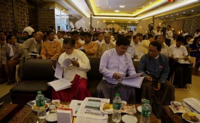 About 200 participants, including individuals representing civil society organizations, political parties and the Buddhist monkhood, attended the Arakan National Party's press conference on Sunday, July 24 at the Dolphin Restaurant in Rangoon. (Photo: Pyay Kyaw / The Irrawaddy)