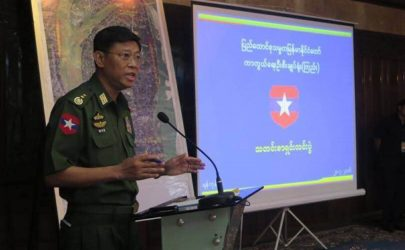 Lt-Gen Mya Tun Oo of the Burma Army speaks at a press conference in Rangoon on July 20, 2016. (Photo: Tun Tun / The Irrawaddy)