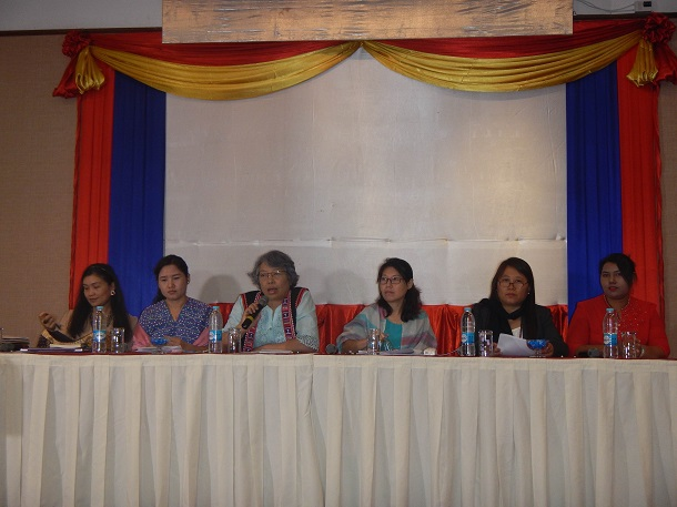 Women's rights advocates at a press briefing on their experience of attending the UN's 64th session of the Committee on the Elimination of Discrimination against Women (CEDAW) in Geneva, Switzerland.
