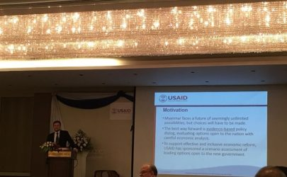 A USAID presentation at the economic forum at Rangoon on Thursday. (Photo: USAID)