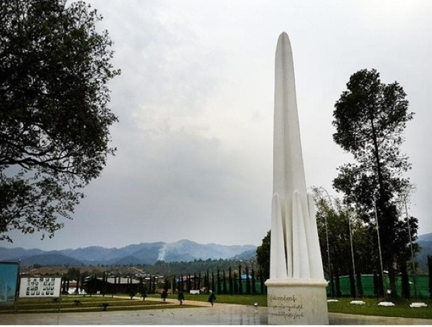 A Union monument at Panglong commemorates the signing of the historic agreement on Feb. 2, 1947. (Photo: Kyaw Zwa Moe / The Irrawaddy)
