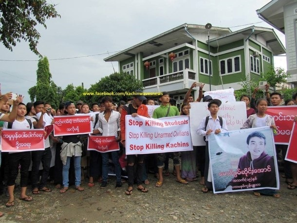 Kachin youth in Myitkyina protest on June 21 against the fatal shooting of the ethnic Kachin student by the Burma Army soldier. (Photo: Kachin Waves)