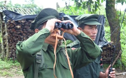 KIA officials from Brigade 3 in Mai Ja Yang, Kachin State on Thursday. (Photo: Kyaw Kha / The Irrawaddy)