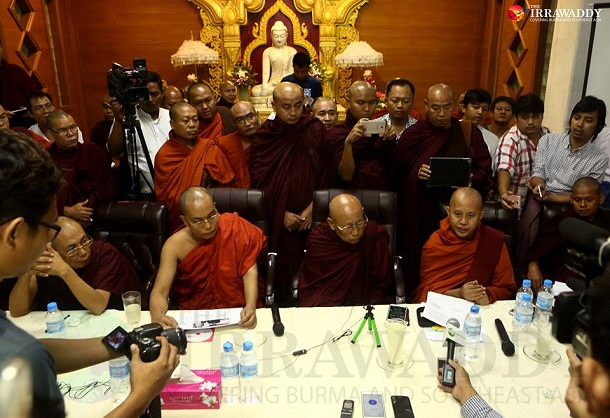 In response to Rangoon Chief Minister Phyo Min Thein's recent criticism of Ma Ba Tha, the Buddhist monks heading the ultra-nationalist organization held an urgent meeting and press conference on Thursday calling for action to be taken against the Rangoon regional leader. (Photos: Myo Min Soe / The Irrawaddy)