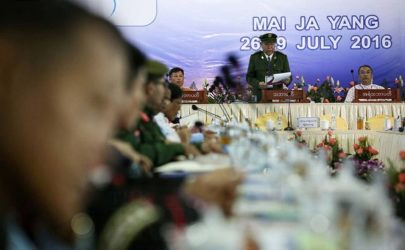 The first day of the ethnic armed group summit in Mai Ja Yang, Kachin State: July 26, 2016. (Photo: Hein Htet / The Irrawaddy)