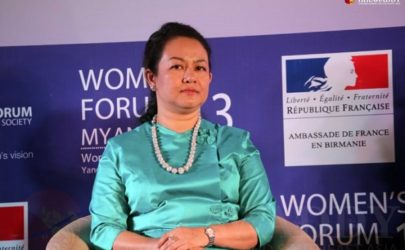 Thet Thet Khine, Lower House parliamentarian and real estate developer, pictured at a women's forum in 2013. (Photo: JPaing / The Irrawaddy)
