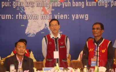 UWSA leader Bao Youxiang (left) and then-spokesperson Aung Myint are pictured at an ethnic summit held in 2015 in the Wa capital of Panghsang. (Photo: JPaing / The Irrawaddy)