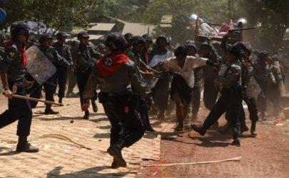 Police crack down on student protesters in Letpadan, Pegu Division on March 10, 2015. (Photo: J Paing / The Irrawaddy)