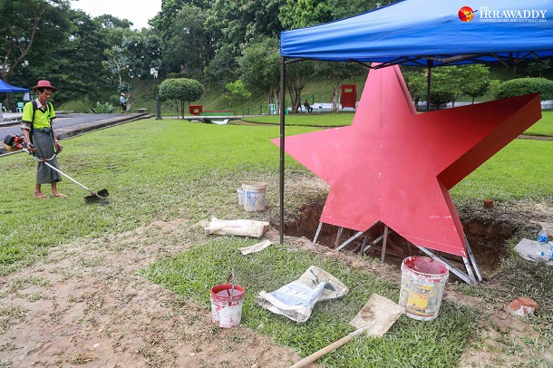 Renovations underway at the Martyrs' Monument in Rangoon, where independence hero Aung and his eight murdered colleagues are interred. (Photo: Pyay Kyaw / The Irrawaddy)