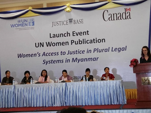 "Panelists at the United Nation's ""Women's Access to Justice in Plural Legal Systems in Myanmar"" report launch in Naypyidaw last week. (Photo: Cheery Zahau / Facebook)"