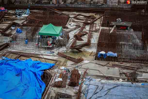 The 74 University Avenue construction site seen on Friday. (Photo: Pyay Kyaw / The Irrawaddy)